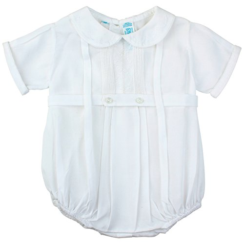 Feltman Brothers Christening - Boys White Baptism Romper Outfit with Collar (NB)