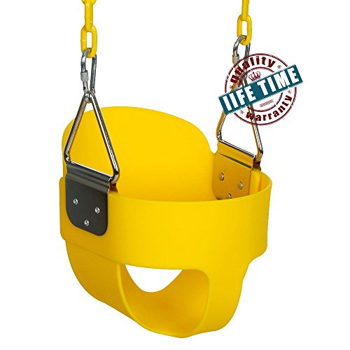 ANCHEER Toddler Swing Seat High Back Full Bucket Swing Seat with 60-inch Coated Chain and Two Snap Hooks -Swing Set Accessories (Yellow#)