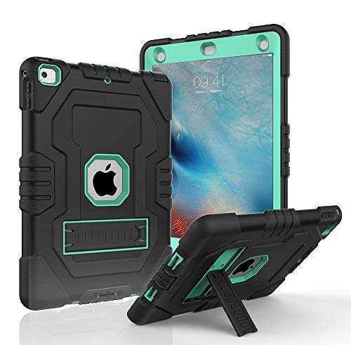 Case for iPad 9.7 2018,iPad 2017 9.7,iPad 6th Generation,Digital Hutty 3 in 1 Shockproof Heavy Duty Full-Body Protective Cover with Kickstand for Apple New iPad 9.7 Inch Black Green