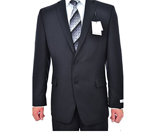 Calvin Klein Slim Fit Black Solid Two Button Wool New Men's Suit Set (44R 40W x 30L) by Calvin ` Klein