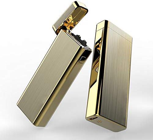 長方形ブラシメタルUSB充電式原子アークライター、防風フレームレス電子プラズマパルスライター、USBコード付き,Gold