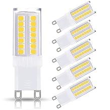 JandCase G9 LED Light Bulbs, 5W (40W Halogen Equivalent), 400LM, Bright Daylight White (6000K), G9 white light led Bulbs for Home Lighting, G9 bulb energy saving for led home lighting decor(Pack of 5)
