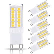 JandCase G9 LED Light Bulbs, 5W (40W Halogen Equivalent), 400LM, Cool White (6000K), G9 Base, G9 Daylight White Bulbs for Home Lighting (Pack of 5)