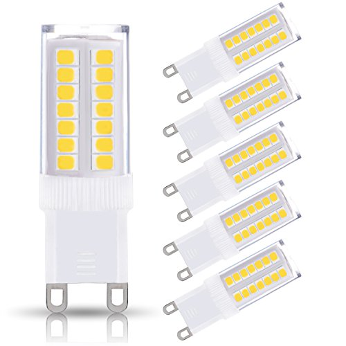 JandCase G9 LED Light Bulbs, 5W, 40W Halogen Equivalent, 400LM, Natural Daylight White 4000K, G9 Base, G9 Bulbs for Chandelier, Wall Sconce, Not Dimmable, 5 Pack