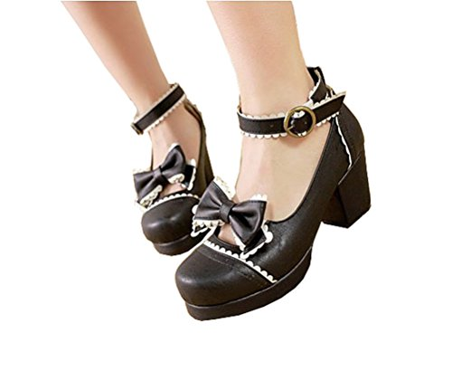 50 Black Mary Jane - Nuoqi Sweet Lolita Cosplay Round Toe Tea Platform High Chunky Heel Ankle-High Shoes