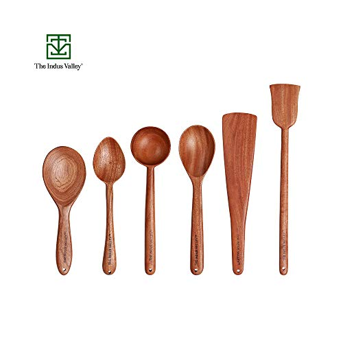 The Indus Valley Wooden Spatula for Cooking & Serving [ Neem Wood ] – Set of 6 Price & Reviews