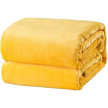 45785719d3 Bedsure Fleece Blanket Queen Size Yellow Lightweight Super Soft Cozy Luxury  Bed Blanket Microfiber