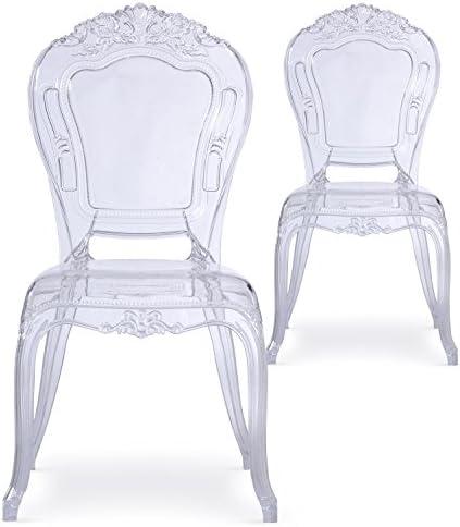 Menzzo Royales Crown Lot de 2 Chaises, Plastique, Transparent, 60 x 50 x 107 cm