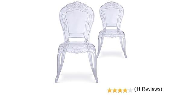 Menzzo Royales Crown – Juego de 2 sillas, plástico, Transparente, 60 x 50 x 107 cm: Amazon.es: Hogar