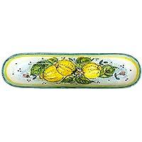 CERAMICHE D'ARTE PARRINI - Italian Ceramic Serving Appetizer Tray Baguette Flatware Decorative Lemons Hand Painted Made in ITALY Tuscan