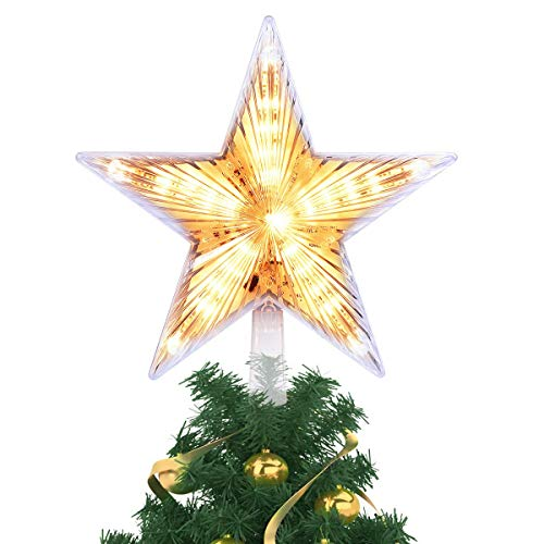 - Kaever 8 Inch Lighted Christmas Tree Topper, Classic 5 Point Star Treetop with 20 LED, Warm White Clear Light for Christmas Tree Decoration