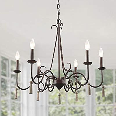 """LALUZ Rustic French Country Chandelier, 6 Lights 26.4"""" Farmhouse Chandelier with Wood Droplets"""