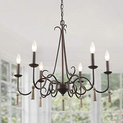 "LALUZ Rustic French Country Chandelier, 6 Lights 26.4"" Farmhouse Chandelier with Wood Droplets ()"