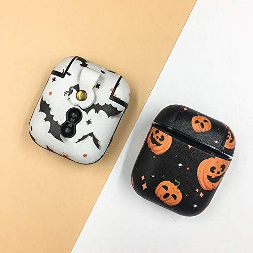 白犬と黒猫の幸せな生活 ハロウィンパンプキンレザーPUイヤホンケースfor apple for AirpodsプロワイヤレスBluetoothヘッドフォンfor Airpods 1 2 3保護カバー-for AirpodsPro Black-