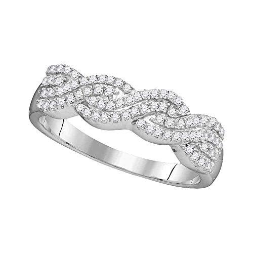 - Diamond Woven Ring Four Row Braided Band Fashion Womens Fancy .25ct 10k White Gold