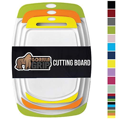 GORILLA GRIP Original Oversized Cutting Board, 3 Piece, BPA Free, Dishwasher Safe, Juice Grooves, Extra Large Thick Boards, Easy Grip Handle, Non Porous, Kitchen, Set of 3, Lime, Orange, Lemon