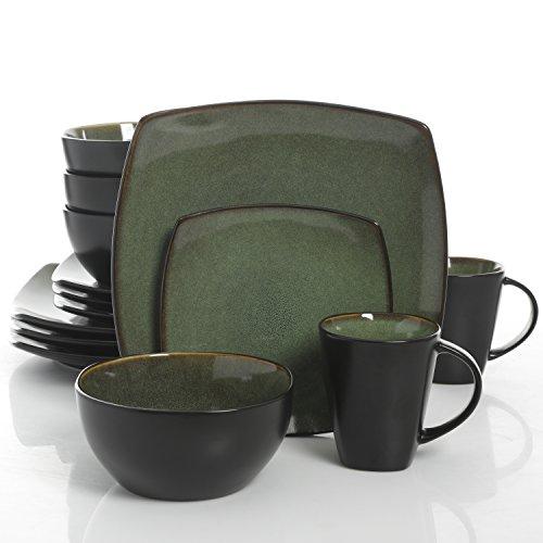 Green Set Dinnerware - Gibson Elite Soho Lounge 16 Piece Dinnerware Set, Green