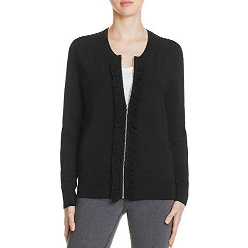 mens Ruffled Zip Front Cardigan Top Black XL (Nylon Ruffled Blouse)
