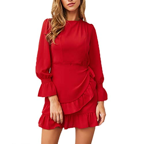 Pengy Women Long Sleeve Mini Dress V Neck Solid Plain Tunic Tops Casual Long Shirt with Waist Belt for Lady Red