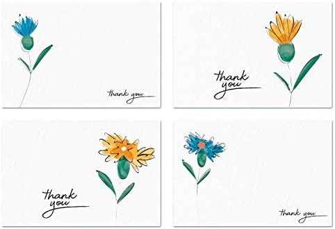 50 Watercolor Thank You Cards and Self Seal Envelopes - Premium Heavyweight Card Stock in Assorted Floral Flower Designs with Green Striped Envelopes - 4x6 Photo Size (White) - Hayley Cherie