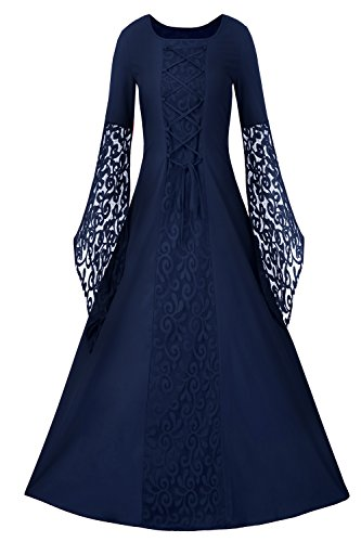 Plus Size Medieval Dress (Womens Halloween Cosplay Costume Renaissance Medieval Irish Lace Over Dress Gothic Dress)