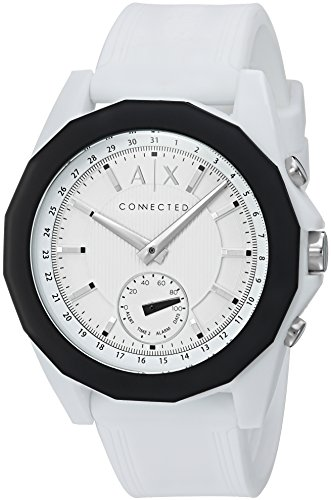 Armani Exchange Men's Hybrid Smartwatch, White Silicone, 44 mm, - Watches Used Mens