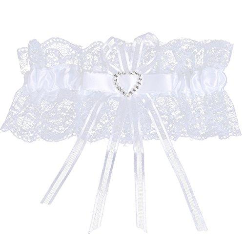 White Satin Wedding Garter - YiZYiF Lace Ruffle Crystal Heart Satin Bridal Garter With Bowknot White One Size