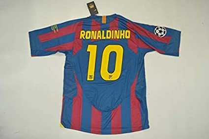 47232f016 Amazon.com   Retro Ronaldinho 10 Barcelona Home Soccer Jersey 2006 ...
