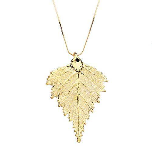 Small Gold-Plated Birch Leaf Pendant 18k Gold-Flashed Sterling Silver Serpentine Chain Necklace, (Yellow Gold Serpentine Chain)