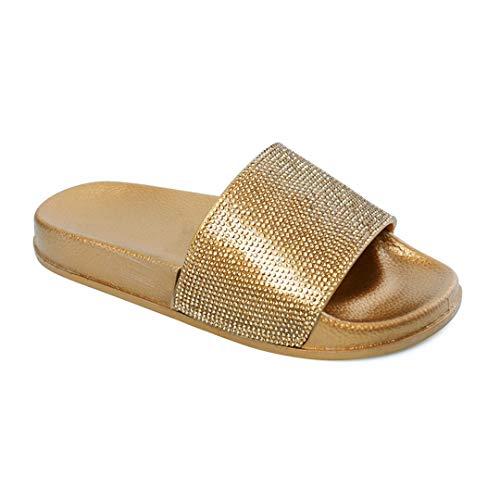 Naimo Women's Slides Rhinestone Glitter Slip On Footbed Platform Sandals ()