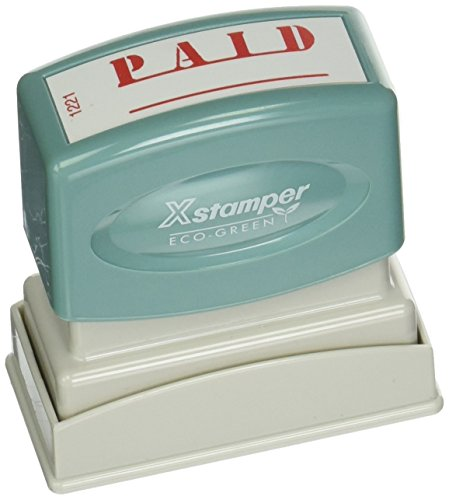 """Xstamper(R) One-Color Title Stamp, Pre-Inked,""""Paid"""", Eco Greeen, Box 1 (XST1221)"""