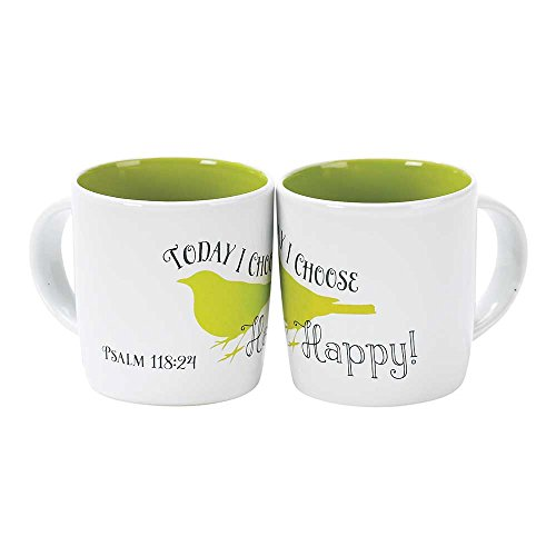 Today I Choose Happy Green Bird 12 Ounce Stoneware Coffee Mugs Set of 2 ()