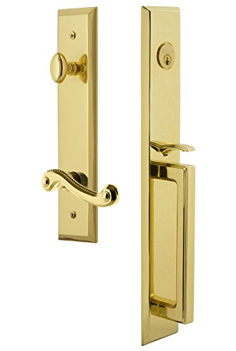Grandeur 847877 Hardware Fifth Avenue One-Piece Handleset with D Grip and Newport Lever Size, Single Cylinder Lock-2.375