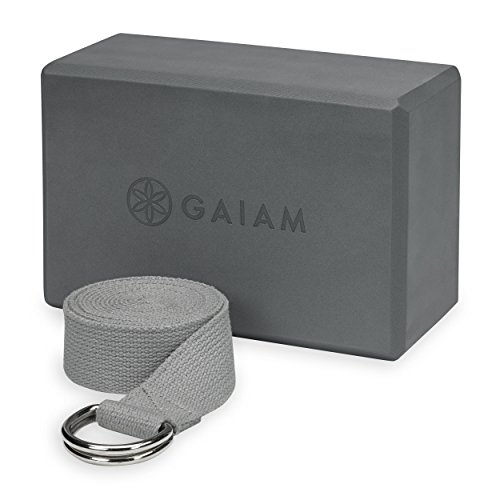 Gaiam Yoga Block + Yoga Strap Set, Grey
