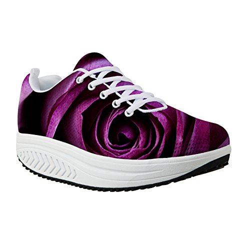 Vintage Wedges Platform Print Casual Purple Fitness For Shoes Sneaker Walking Designs Women's Floral U Rose 7ZznnPwEq