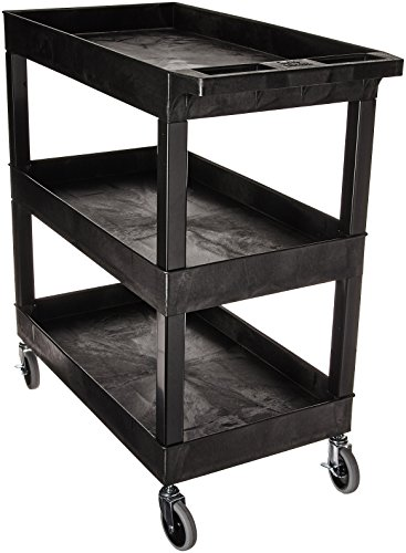 "Luxor EC111-B Tub Storage Cart 3 Shelves - Black,32"" x 18"""