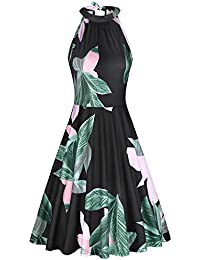 cd6f96cb008 Women s Halter Neck Floral Summer Casual Sundress
