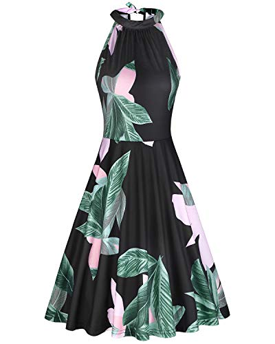 OUGES Women's Halter Neck Floral Summer Casual Sundress(Floral-24,L)