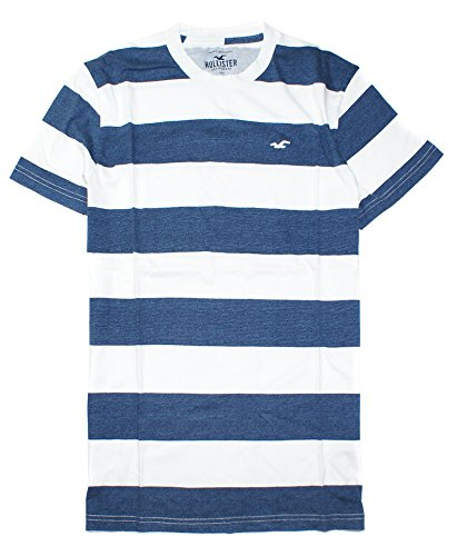 Hollister Men's Must-Have Crew Neck T-Shirt HOM C (Medium, White/Blue 0072)