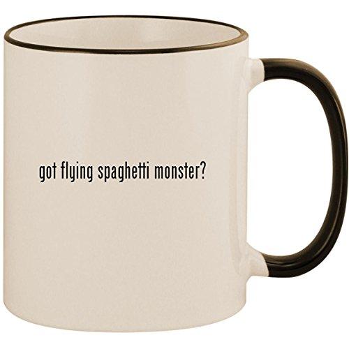 got flying spaghetti monster? - 11oz Ceramic Colored Handle & Rim Coffee Mug Cup, Black ()