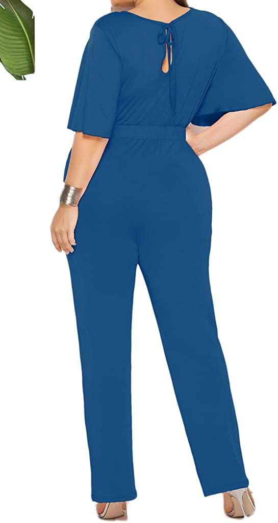 LaCouleur Womens Plus Size Batwing Sleeve High Waist Bodycon Party Cocktail Jumpsuit Rompers Outfits