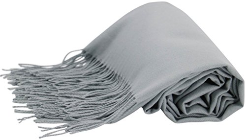 CJ Apparel Silver Grey Thick Solid Color Design Cotton Blend Shawl Scarf Wrap Pashminas Seconds NEW (Cashmere Solid Blend Color)