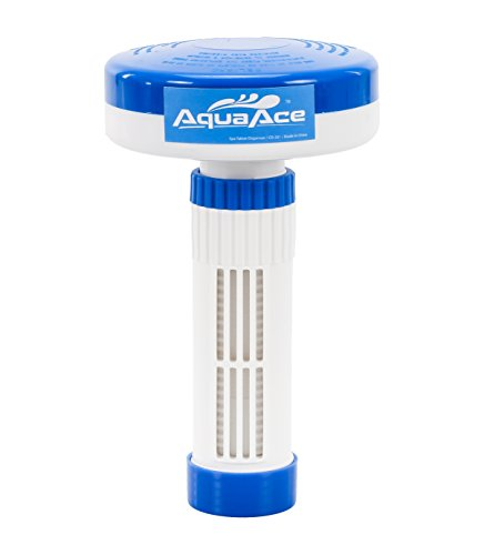 AquaAce Floating Spa Hot Tub Dispenser for 1 Inch Bromine or Chlorine Tablets, Premium Adjustable Chemical Floater, 13 Settings for Maximum Flow Control ()