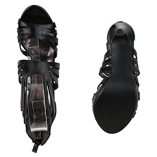 Stiefelparadies Damen Sandaletten High Heels Schaftsandaletten Stilettos Lack Metallic Partyschuhe Nieten Strass Fransen Lace Up Schuhe Flandell Schwarz Metallic Agueda