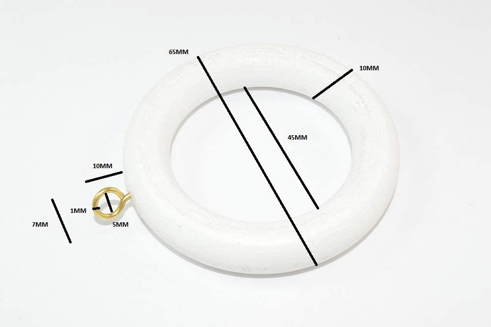 CURTAIN ROD//RAIL RING WITH SCREW EYE WOODEN WHITE ID 40mm Pack Of 48