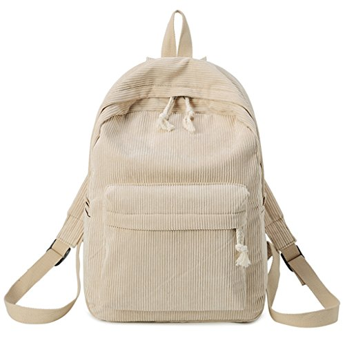 JAGENIE Khaki Girls Students Backpack Gray Fashion Bags School Corduroy Rucksack Women Light rRqOrwPxp