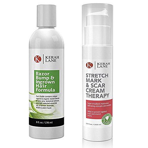 Kerah Lane Organic Razor Bump Formula and Stretch Mark & Scar Cream Therapy (1 BOTTLE EACH) Use Together to Achieve Best Results for Ingrown Hairs, Acne, Razor Bumps, Stretch Marks, Scars, and Keloids
