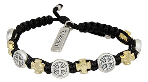 My Saint My Hero Blessings in Faith Cross Bracelet, Adjustable (Gold and Silver Plated Medals on Black)