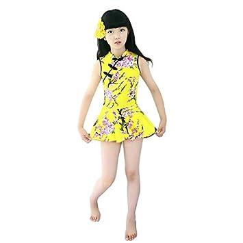 2pcs Kids One Piece Swimwear Flower Beach Bathing Suit Summer Girls Backless Cheongsam Swimwear Dress Shorts Red Yellow Value-Home-Tools