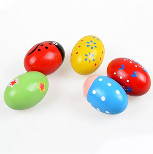 E-SCENERY Wooden Percussion Musical Sand Egg, Instruments Percussion Musical Toys Maracas Easter Egg Shakers (Random…